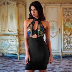 Adyce Sexy Summer Bandage Dress Women Vestidos Verano Bodycon Sequined Hollow Out Halter Club Dress Celebrity Party Dresses