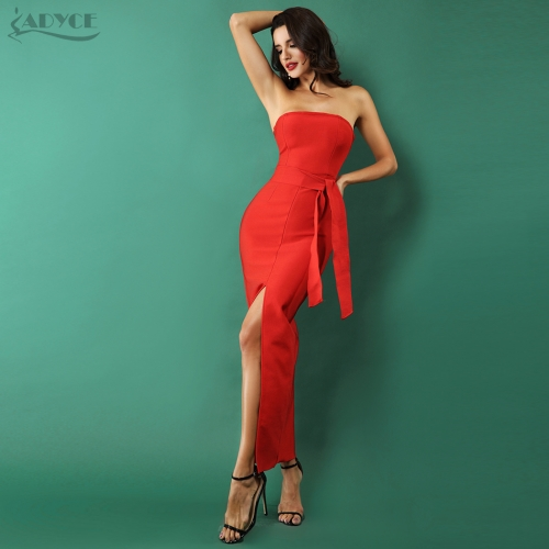 Adyce Red Bodycon Celebrity Party Dress Women 2019 New Summer Sexy Split Strapless Bow Sleeveless Long Runway Club Dress Vestido