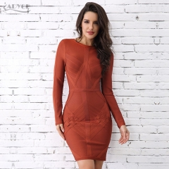 Adyce New Fashion Winter Bandage Dress Sexy O Neck Long Sleeve Sexy Women Celebrity Evening Party Dress Vestidos Wholesale