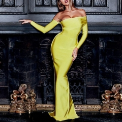 Adyce 2019 New Arrival Sexy Women Bandage Dress Long Sleeve Yellow Draped Off Shoulder Long Maxi Celebrity Evening Party Dresses