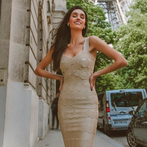 Adyce 2019 New Summer Arrival Sexy  Bandage Dress Women Vestidos Night Out Spaghetti Strap Midi Club Dress Celebrity Party Dress