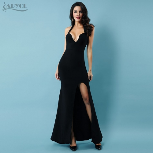 Adyce Women Summer Red Bandage Dress 2019 New Arrival Sexy Black Maxi Club Dress Halter Sleeveless Celebrity Party Dress Vestido