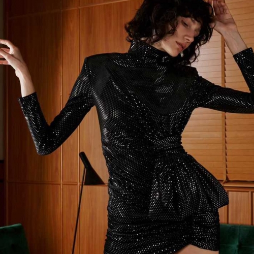 Adyce 2019 New Spring Celebrity Evening Party Dress Women Sequined Dress Vestido Sexy Draped Black Mini Long Sleeve Club Dresses