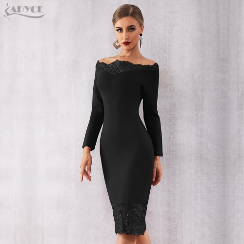 Adyce 2019 New Women Bandage Dress Vestidos Black Slash Neck Celebrity Party Dress Elegant Off Shoulder Lace Bodycon Club Dress
