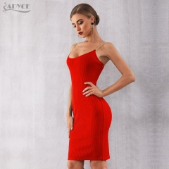 Adyce 2019 New Summer Women Bodycon Bandage Dress Sexy Chain Spaghetti Strap Club Dress Celebrity Evening Party Dresses Vestidos