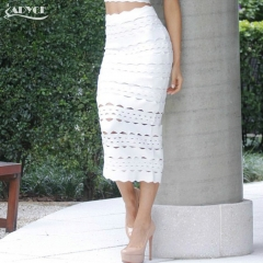 Adyce Summer New Arrival Women Bandage Pencil Skirt Sexy White Midi Hollow Out Elegant Celebrity Prom Bodycon Party Skirt