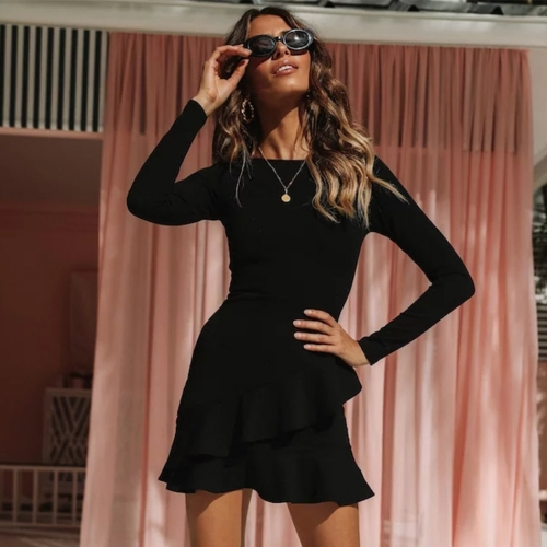 Adyce 2019 New Spring Bandage Dress Women Sexy Long Sleeve Black Ruffles Mini Club Dress Vestidos Elegant Celebrity Party Dress