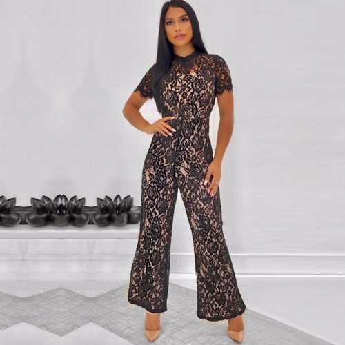 ADYCE New Summer Runway Bandage Jumpsuits For Women 2019 Elegant Sexy O Neck Black Short Sleeve Lace Club Long Jumpsuits Rompers