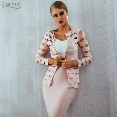 Adyce 2019 New Summer Bandage Trench Women Coats Sexy Hollow Out Three Quarter Sleeve Women Coats Celebrity Party Runway Coats