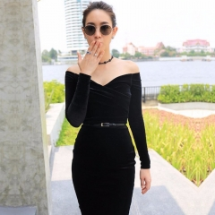 ADYCE Women Celebrity Evening Party Dress New Summer Black Sexy Off Shoulder Long Sleeve Slash Neck Dress Clubwear Vestidos