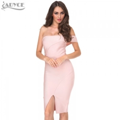 ADYCE Wholesale Women Summer Bandage Dress Nude Off Shoulder Knee-length Cut Luxury Sexy Cocktail Party Prom Bodycon Dress