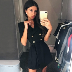 Adyce 2019 New Summer Women Slim Trench Coats Black Deep V-Neck Double Breasted Coats Short Sleeve Nude Fashion Club Coats Sash