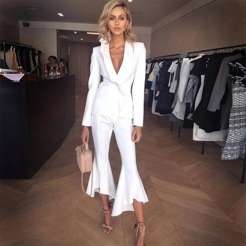 Adyce New Arrival Celebrity Party Dress 2 Two Pieces Women Sets Top& Pants Sexy Ruffles White Runway Club Dresses Vestidos