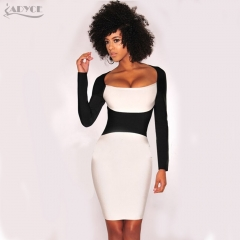 ADYCE Woman Celebrity Evening Party dress Night Out Club black&White Long Sleeve Contrast Color Mini bandage dress Vestidos