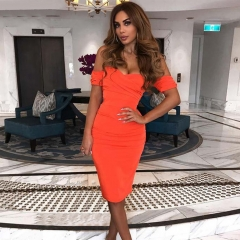 Adyce 2019 New Summer Women Club Dress Vestidos Orange Slash Neck Celebrity Party Dress Elegant Off Shoulder Bodycon Dress