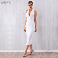 ADYCE 2019 New Summer Women Bandage Dress Vestidos Sexy White Halter Backless Deep V Bodycon Club Dresses Celebrity Party Dress