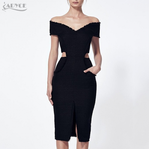 Adyce New Fashion Summer Bandage Dresses Sexy Women Black Off the Shoulder Hollow Out V Neck Vestidos Evening Party Dress