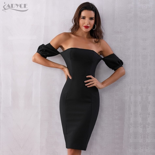 Adyce 2019 New Summer Bandage Dress Women Vestidos Black Slash Neck Off Shoulder Midi Bodycon Club Celebrity Evening Party Dress