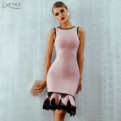 Adyce 2019 Women Summer Bandage Dress Vestido Pink Lace Up Backless Mermaid O-Neck Tank Dress Mini Celebrity Evening Party Dress