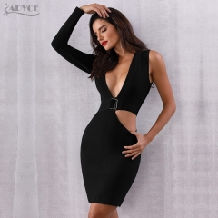 Adyce Summer Bandage Dress Women Vestidos Verano 2019 New Sexy Black Hollow Out Deep V BodyconCelebrity Evening Party Club Dress