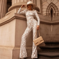 ADYCE 2019 New Summer Women Runway Lace Bandage Jumpsuit Rompers Elegant Long Sleeeve Jumpsuit Sexy Bodysuit Vestido Clubwear