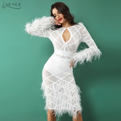 ADYCE Women Bandage Feather Dress Autumn Celebrity Evening Party Dress Sexy O Neck Hollow Out White Dress Vestidos Clubwear