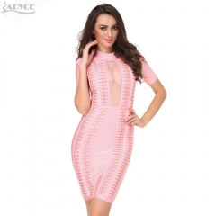 ADYCE New women Summer dress sexy  Mesh High Neck Bandage Dress Pink bodycon party dress celebrity women Vestidos wholesale