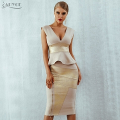 Adyce Ruffles Celebrity Party Dress 2019 New Summer Women Bodycon Set Sleeveless V-Neck Front Zipper Bandage Dress Women Vestido