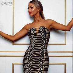 ADYCE New  Women Bodycon Party Dress Vestidos Luxury Black Strapless Buttons Hollow Out Sleeveless Celebrity Runway Dresses