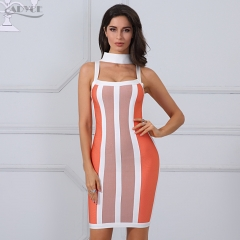 Adyce New Summer Women Bandage Dress Striped Halter Vestidos Sleeveless Knee-Length Celebrity Evening Party Dress Clubwears