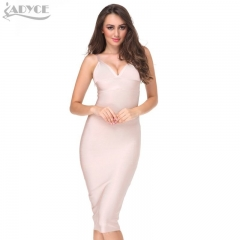 Adyce New Sexy Women Summer Red Party Bandage Dress Spaghetti Strap deep V-neck Nude Celebrity Cocktail Runway Bodycon Midi Dress