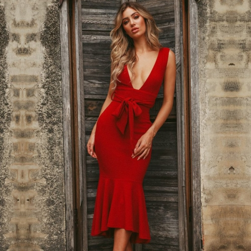ADYCE Summer Women Bandage Dress Vestidos Verano 2019 Red Tank Sexy Deep V-Neck Sleeveless Mermaid Bodycon Celebrity Party Dress