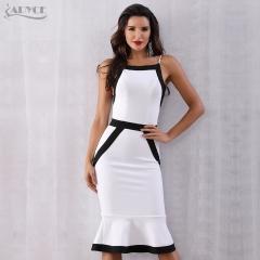 Adyce 2019 New Summer White Bandage Dress Women Sexy Spaghetti Strap Mermaid Club Dress Vestidos Celebrity Evening Party Dresses