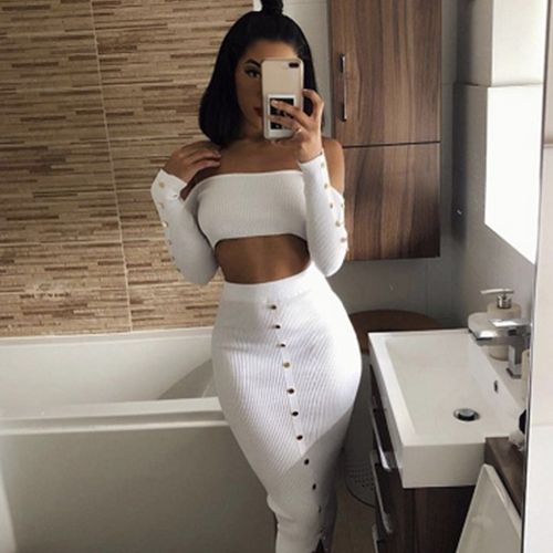 ADYCE New Summer Bodycon Celebrity Party Women Bandage Sets Two 2 Pieces Top&Skirts Long Sleeve Strapless Club Sets Vestido