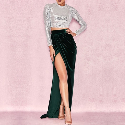 Adyce New Celebrity Party 2 Two Pieces Set 2019 Summer Women Bodycon Sets Long Sleeve Sequin Dress Women Fanshion Sets Vestidos