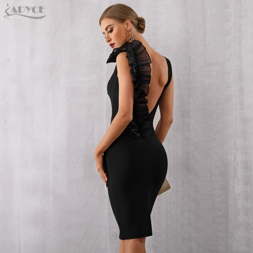 Adyce 2019 New Summer Bodycon Bandage Dress Women Sexy Black V-Neck Ruffles Mesh Backless Vestidos Celebrity Evening Party Dress