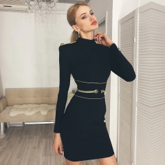 Adyce 2019 New Spring Women Bandage Dress Sexy Long Sleeve Black Mini Club Dress Vestidos Elegant Celebrity Evening Party Dress