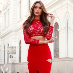 ADYCE New Bodycon Women Bandage Dress Sets Sexy 2 Two pieces Set Red Black Lace Sets Vestidos Celebrity Evening Party Dress