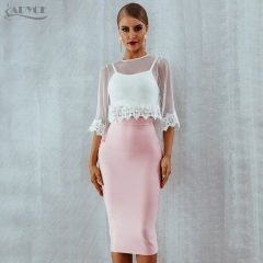 Adyce Summer Bandage Sets Chic Fashion Club Crop Tops&Skirt 2 Two Pieces Lace Hollow Out Celebrity Evening Party Dress Sets