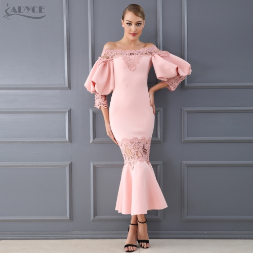 Adyce Celebrity Party Dress Women Vestidos Verano 2019 New Summer Sexy Flare Sleeve Lace Hollow Out Clubwears Off-Shoulder Dress