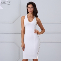 Adyce Chic Summer Bandage Dresses Women White Side Lace Up Celebrity Runway Dress Vestidos Bodycon Party Dress Clubwear
