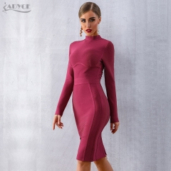 Adyce 2019 Spring Bodycon Bandage Dresses Women Sexy Wine Red Long Sleeve Midi Club Dress Vestidos Celebrity Evening Party Dress