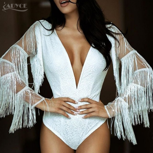 Adyce Chic New Summer Women Short Bandage Jumpsuit Sexy White Deep V Neck Lace Tassel Fringes Long Sleeve Bodycon Bodysuits