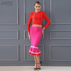 Adyce Chic Fashion Club Bandage Crop Tops&Mermaid Skirt 2 Two Pieces Set Night Out Celebrity Evening Party Dress Sets
