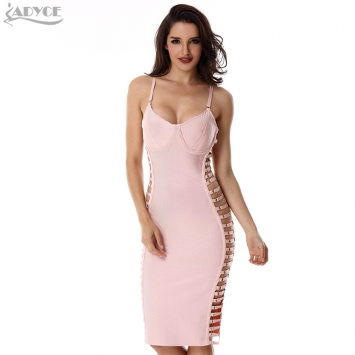 Adyce Spring Celebrity Evening Party Dresses Women Bodycon Bandage Dress Pink Spaghetti Strap Sleeveless Cut out Sexy Club Wear