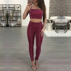 Adyce Fashion Women Bandage Set Black Wine Red Tops&Pant 2 Two Pieces Pearls Night Out Celebrity Evening Party Women Sets