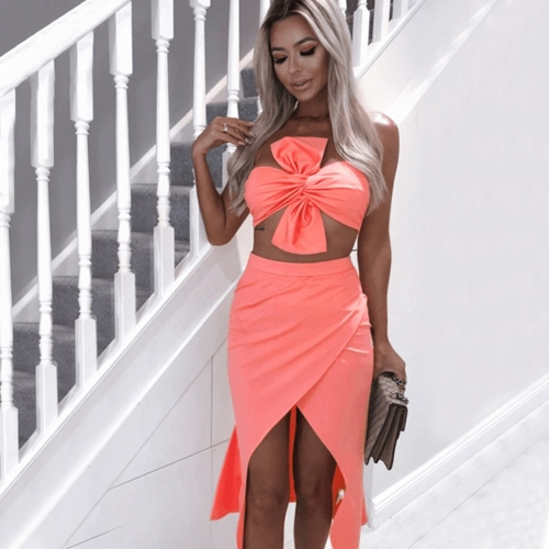 ADYCE Summer Bodycon Women Sets Vestidos Verano 2019 New 2 Two Pieces Sets Strapless Bow Clubwears Celebrity Evening Party Dress