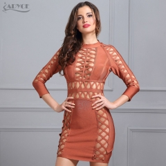 Adyce Sexy Women Summer Bandage Dress Orange Black Hollow Out Mini Vestidos O-neck Celebrity Evening Party Dresses