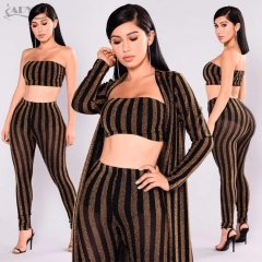 Adyce Celebrity Party Women Set New Striped Women 3 Pieces Sets Crop Tops&Pants&Coat 3 Three Pieces Set Clubwear