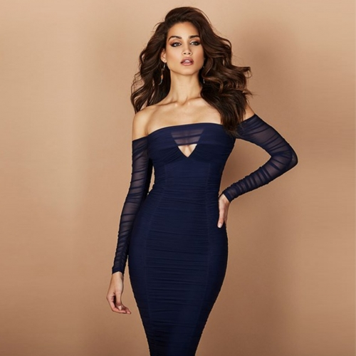 Adyce 2019 New Women Celebrity Evening Party Dress Vestido Sexy Long Sleeve Off Shoulder Elegant Midi Slash Neck Lace Club Dress